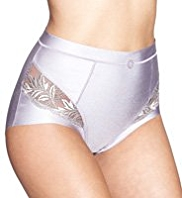 Firm Tummy Control Leaf Embroidered No VPL High Leg Knickers