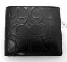 Coach Men's Signature Embossed Double Billfold Wallet Style F74078 Black
