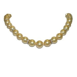 Genevieve Golden South Sea Pearl Necklace, 18K Diamond Ron