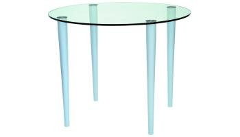 Slender Pin Coffee Table 900 x 900 frosted/coloured