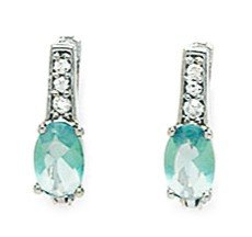 14ct White Gold March Birthstone Lt-Blue 3x5mm Oval CZ Leverback Earrings - Measures 12x3mm