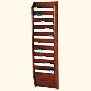 Wooden Mallet 10-Pocket File Holder, Letter Size, Mahogany
