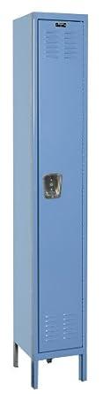 "Hallowell U1228-1MB Marine Blue Steel Premium Wardrobe Locker, 1 Wide with 1 Opening, 1 Tier, 12"" Width x 78"" Height x 12"" Depth, Knock Down"