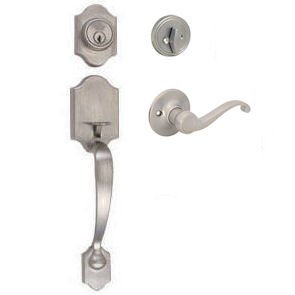Designers Impressions Valhala Satin Nickel Handleset with Richmond Interior (We Key Lock Orders Alike for Free) (House Front Door Handle And Lock compare prices)