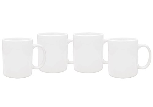 Culver 11-Ounce Hampton Ceramic Mug, White, Set of 4 (White Coffee Mug Set compare prices)
