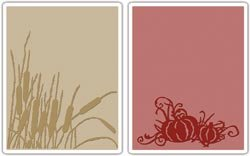 Texture Fades 2-Pack Embossing Folders By Tim Holtz: Cattails & Pumpkin Patch