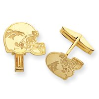 14K Denver Broncos Helmet Cuff Links - JewelryWeb