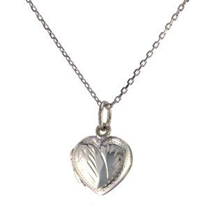 Sterling Silver Engraved Heart Locket with Chain -16 in
