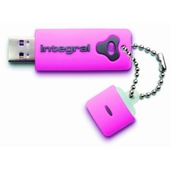 Integral USB Splash Drive,USB 2.0, 4GB, Pink,Shock and Water Resistant