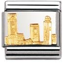 Nomination Composable Classic Relief Monument San Gimignano Stainless Steel and 18K Gold
