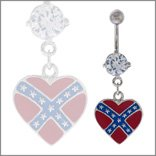 Belly Button Ring Navel Heart Rebel Body Jewelry Dangle 14 Gauge