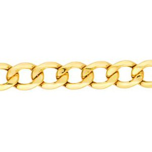 10K Solid Yellow Gold Curb Lite Chain Necklace 5.3mm thick 24 Inches