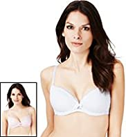 2 Pack Per Una Lace Trim Underwired B-DD Bras