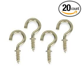 Battalion 1WBH3 Cup Hook, Brass, Length 1/2 In, PK 20