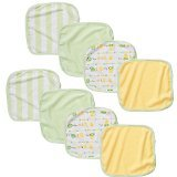 Koala Baby Neutral Washcloths 8 Pack - Green Solid/Print - 1