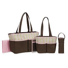 Babies R Us 5 in 1 Diaper Bag - Brown/Pink - 1