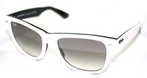 Ray Ban Rb2140 Original Wayfarer White On Black Frame/Grey Gradient Lens Plastic Sunglasses, 47mm