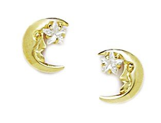 14ct Yellow Gold CZ Crescent Moon With a Star Screwback Earrings - Measures 9x8mm