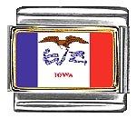 Iowa State Flag Italian Charm Bracelet Link