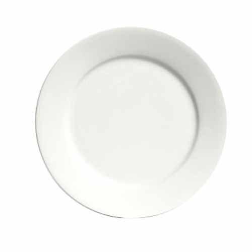 "Tuxton Ala-90 9"" Wide Rim Rolled Edge Bright White China Plate - 24 / Case"
