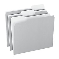 Office Depot Top Tab Color File Folders, 1/3 Cut, Letter Size, Gray, Box Of 100, OD152 1/3 GRA