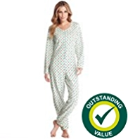 Zip Through Spotted Fleece Onesie