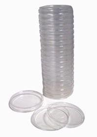 20 Pack Sterile Plastic Petri Dishes, 100mm Dia x 13mm Deep, with Lid.