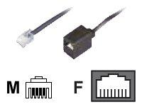 Reduzier-Adapter, RJ11(6p4c)-Stecker-RJ45(8p4c)-Buchse, Kabel: 4-adrig, flach und schwarz, 0,15 m