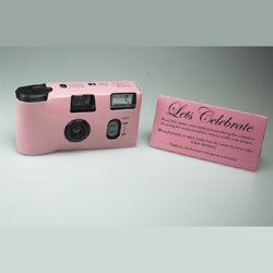 Pink Single Use Disposable Wedding Cameras - 27 exposures with flash - Sold Singularly - Free UK delivery!