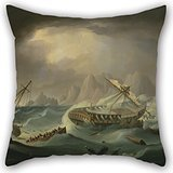 Alphadecor Pillow Covers Of Oil Painting Thomas Buttersworth - Shipwreck Off A Rocky Coast 20 X 20 Inches / 50 By 50 Cm,best Fit For Saloon,seat,home,couch,christmas,drawing Room Each Side (Killer Bunnies Quest Green compare prices)