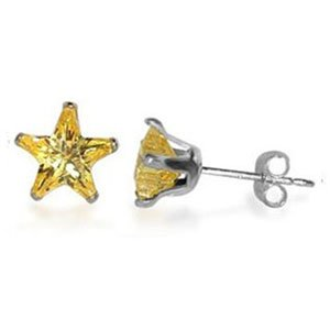 TDEZ2500-Y Nickel Free Sterling Silver 7mm Star Citrine Cubic Zirconia Post Back Stud Earrings