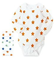 5 Pack Pure Cotton Star Print Bodysuits