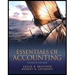 Essentials of Accounting by Breitner,Leslie K.; Anthony,Robert N.. [2012,11th Edition.] Paperback