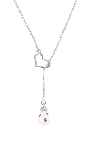 White Easter Egg With Multicolored Crystal Dots Heart Lariat Necklace