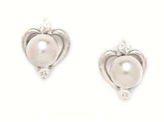 14ct White Gold White 6x6mm Freshwater Cultured Pearl and CZ Heart Shape Screwback Earrings