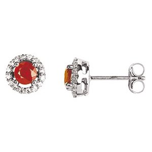 So Chic Jewels - Ladies 18k White Gold Red Ruby & Cubic Zirconia Stud Earrings
