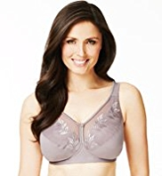 Total Support Non-Wired Oriental Leaf Embroidered B-G Bra