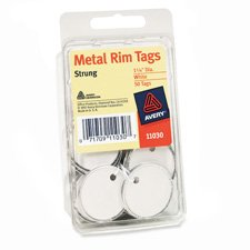 "Avery Consumer Products Products - Metal Rim Tags, Heavy Weight Stock, 1-1/4"" Diameter, White - Sold as 1 PK - Use metal tag where strength and durability are required. Bright nontarnish metal edges protect the tag and prevent mutilation in use. Heavy white stock paper and white string."