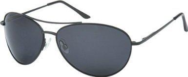 Mens Polarised Sunglasses - Mens Cobra Aviator Sunglasses With Black Lenses & Black Frames + Protective Case, Cleaning Cloth, Micro Bag & Cord