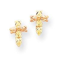 10k Tri-color Black Hills Gold Cross Post Earrings