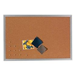 FORAY(TM) Cork Bulletin Board, Aluminum Frame, 36in. x 24in.