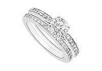 Diamond Engagement Ring with Wedding Band Set : 14K White Gold - 0.75 CT Diamonds