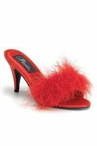 Cheap Red Satin Classic Marabou Slipper Heels (B005CZG6UQ)
