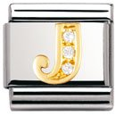 Composable Classic LETTERS in stainless steel , 18k gold and Cubic zirconia (J)