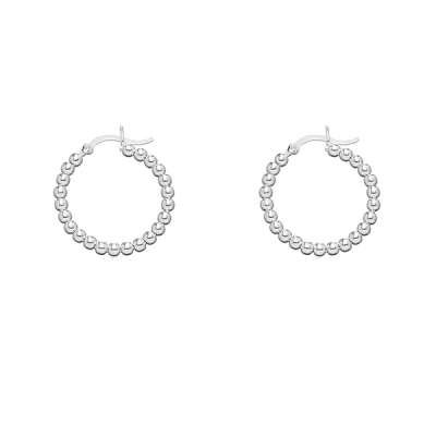 New Style Hoop Earrings Jewelry, Sterling Silver beaded Small circle, Measures 1