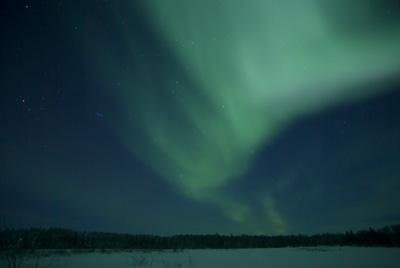 Green Aurora Above Far Lake Wall Decal - 42 Inches W X 28 Inches H - Peel And Stick Removable Graphic