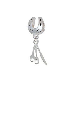 Fork Knife And Spoon Horseshoe Charm Bead