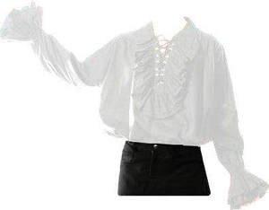 White - Men's Pirate Shirt - Gothic Steam Punk LARP Fancy-Dress Shirt Whitby Festival Sizes 3XL-4XL