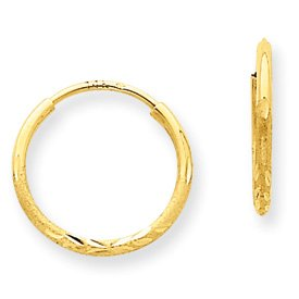 Genuine IceCarats Designer Jewelry Gift 14K 1.25Mm D/C Endless Hoop Earring