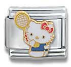 Hello Kitty Tennis Player Cat Animal Theme Licensed Charm Bracelet
